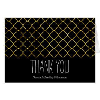 Cartão Obrigado chique de Quatrefoil do ouro você