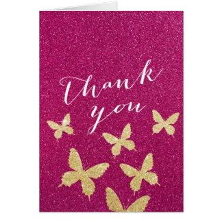 Cartão Obrigado chique do brilho do rosa das borboletas