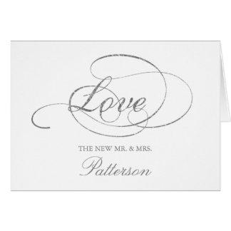 Cartão Obrigado chique do casamento da folha de prata do