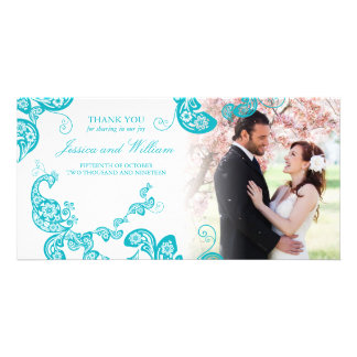 Cartão Obrigado chique do casamento do pavão floral de