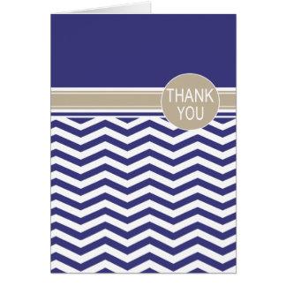Cartão Obrigado chique do marinho do monograma | de