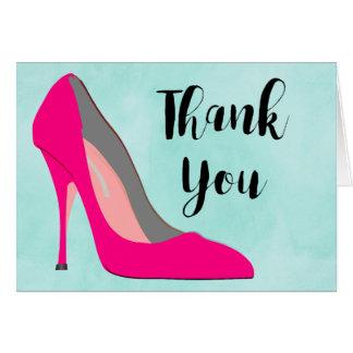 Cartão Obrigado chique dos calçados do salto alto do