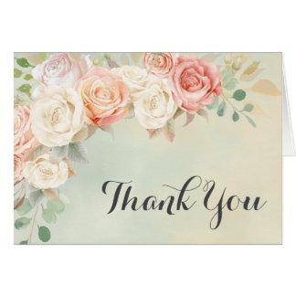 Cartão Obrigado chique dos rosas do vintage da casa de