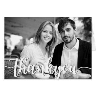 Cartão Obrigado chique escrito à mão do casamento você