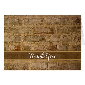 Cartão Obrigado chique industrial dos tijolos você