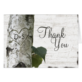 Cartão Obrigado cinzelado da árvore de vidoeiro do