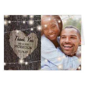 Cartão Obrigado cinzelado do casamento da árvore do