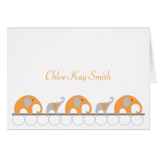 Cartão Obrigado cinzento alaranjado do bebê do elefante