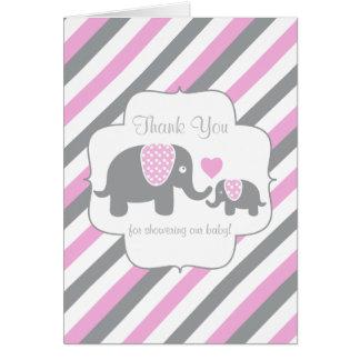 Cartão Obrigado cinzento cor-de-rosa, branco do elefante