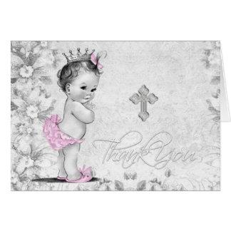 Cartão Obrigado cinzento cor-de-rosa do baptismo da
