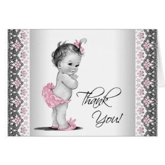 Cartão Obrigado cinzento cor-de-rosa do chá de fraldas do