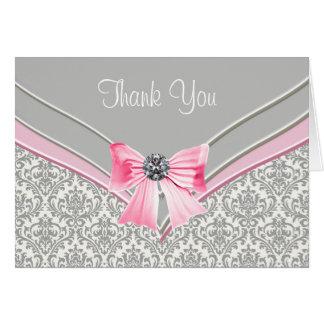 Cartão Obrigado cinzento cor-de-rosa do damasco você