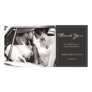 Cartão Obrigado cinzento moderno do casamento você