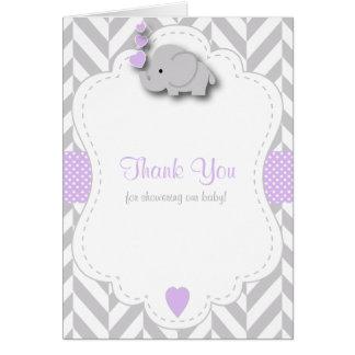 Cartão Obrigado cinzento roxo, branco do chá de fraldas