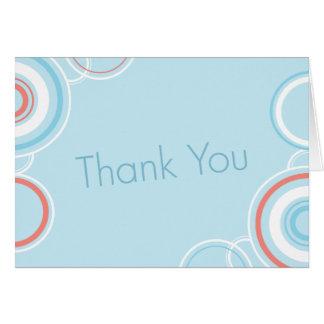 Cartão Obrigado círculos cor-de-rosa & azuis -