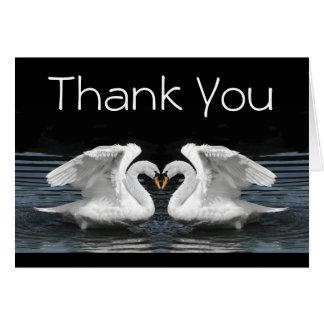 Cartão Obrigado --  Cisnes mudas brancas