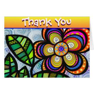 Cartão Obrigado colorido abstrato da flor você