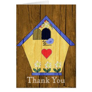 Cartão Obrigado colorido da casa do pássaro do Coo do Coo