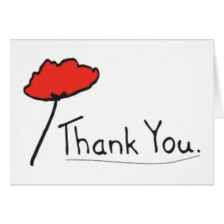 Cartão Obrigado com a flor vermelha da papoila