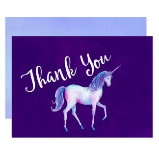 Cartão Obrigado com unicórnio em aguarelas Pastel