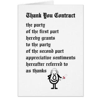 Cartão Obrigado contratar - um obrigado legal engraçado