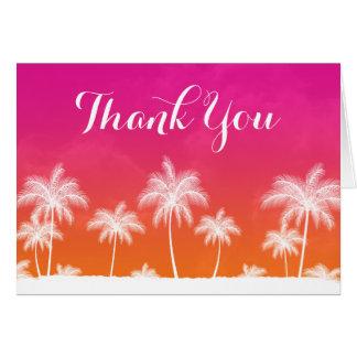 Cartão Obrigado cor-de-rosa alaranjado tropical você