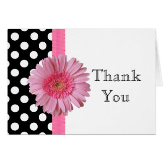 Cartão Obrigado cor-de-rosa bonito da margarida de Gerber