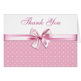 Cartão Obrigado cor-de-rosa bonito das bolinhas você