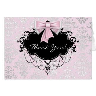 Cartão Obrigado cor-de-rosa bonito do damasco você