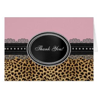Cartão Obrigado cor-de-rosa bonito do leopardo você