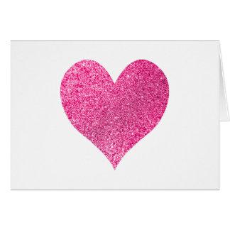 Cartão Obrigado cor-de-rosa brilhante do coração do