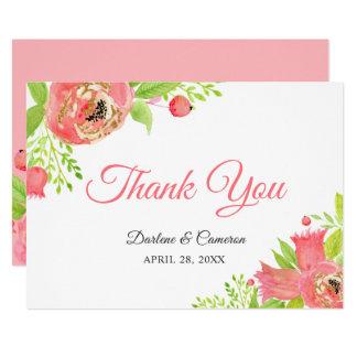 Cartão Obrigado cor-de-rosa coral brilhante do jardim