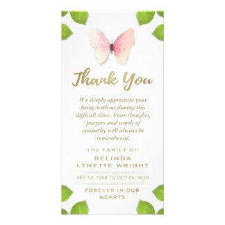 Cartão Obrigado cor-de-rosa da borboleta você para o