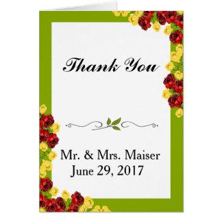 Cartão Obrigado cor-de-rosa da flor da tulipa floral do