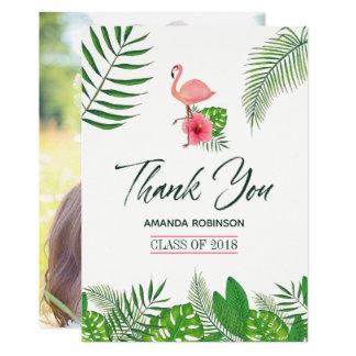 Cartão Obrigado cor-de-rosa da graduação de Luau da