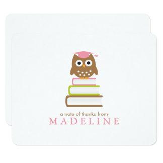 Cartão Obrigado cor-de-rosa da graduação do jardim de