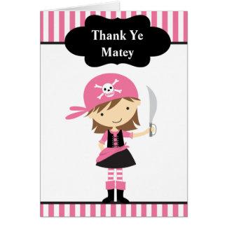 Cartão Obrigado cor-de-rosa da menina do pirata você