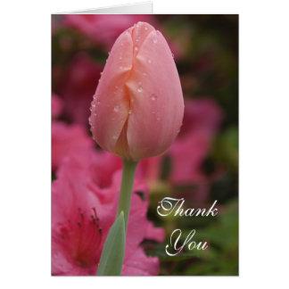 Cartão Obrigado cor-de-rosa da tulipa do jardim você
