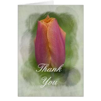 Cartão Obrigado cor-de-rosa da tulipa do primavera você