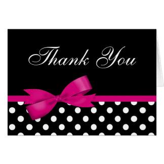 Cartão Obrigado cor-de-rosa das bolinhas do preto do arco