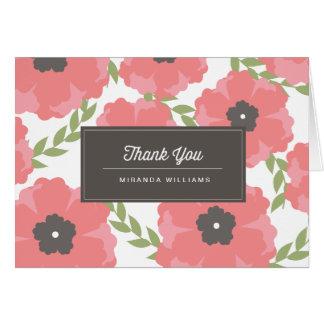Cartão Obrigado cor-de-rosa das flores de papel da