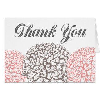 Cartão Obrigado cor-de-rosa das flores do Zinnia você