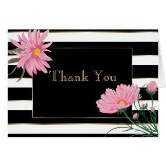 Cartão Obrigado cor-de-rosa das margaridas das listras