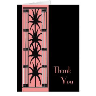 Cartão Obrigado cor-de-rosa das palmas de Deco você