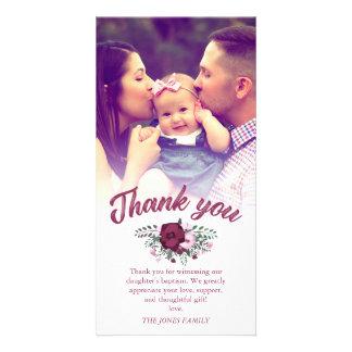 Cartão Obrigado cor-de-rosa do baptismo do buquê da