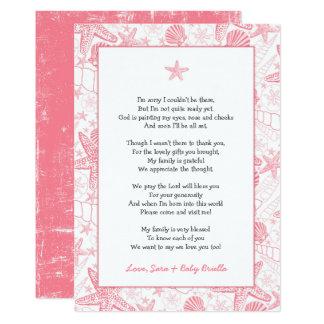Cartão Obrigado cor-de-rosa do chá de fraldas dos escudos