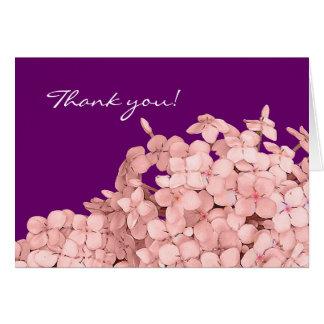 Cartão Obrigado cor-de-rosa do Hydrangea você