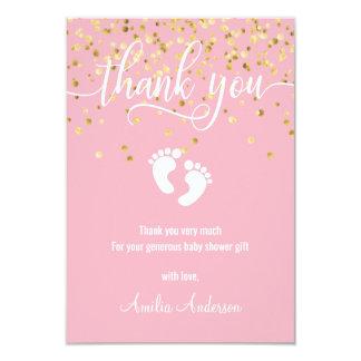 Cartão OBRIGADO cor-de-rosa do ouro VOCÊ FOTO da menina |