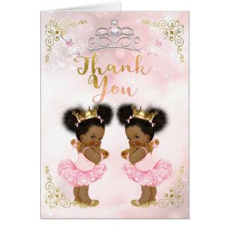 Cartão Obrigado cor-de-rosa dos gêmeos do bebé da
