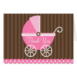 Cartão Obrigado cor-de-rosa dos pontos da carruagem de